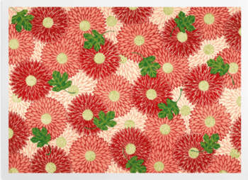 'Red floral & green foliage' Art Prints