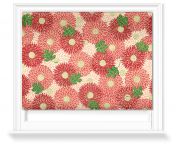 'Red floral & green foliage' Roller Blind