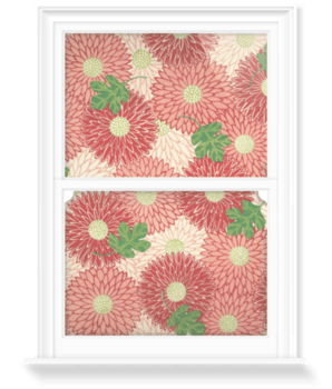 'Red floral & green foliage' Decorative Window Film