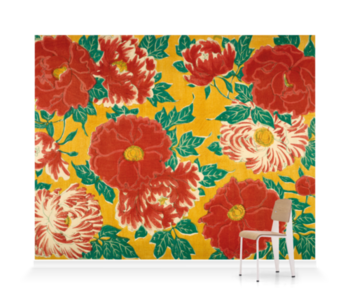 'Red floral & green foliage on a yellow background' Wallpaper Mural