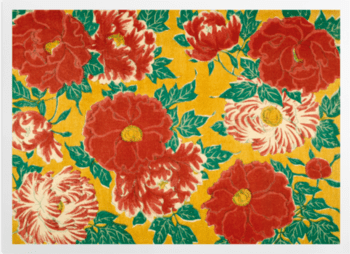 'Red floral & green foliage on a yellow background' Art Prints