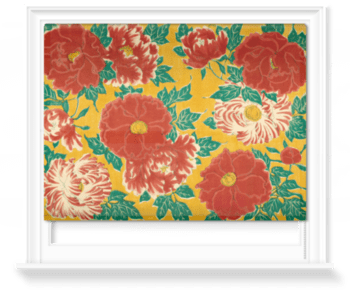 'Red floral & green foliage on a yellow background' Roller Blind
