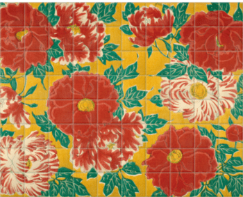 'Red floral & green foliage on a yellow background' Ceramic Tile Mural