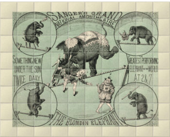 'The Greatest Performing Elephant in the World' Ceramic Tile Mural