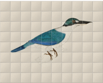 'White-Collared Kingfisher' Ceramic Tile Mural