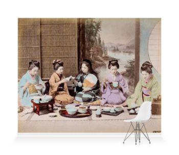 'A group of Japanese women eating a meal' Wallpaper Mural