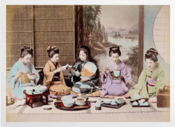 'A group of Japanese women eating a meal' Art Prints