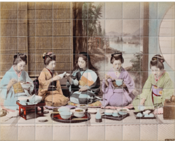 'A group of Japanese women eating a meal' Ceramic Tile Mural