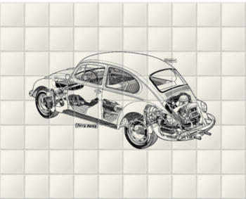 'White Beetle' Ceramic Tile Mural