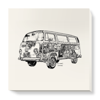 'White Camper Van' Canvas Wall Art