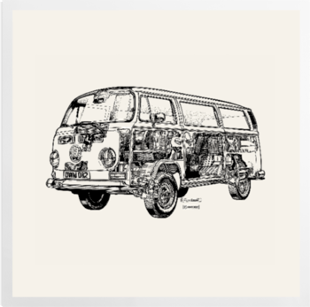 'White Camper Van' Art Prints