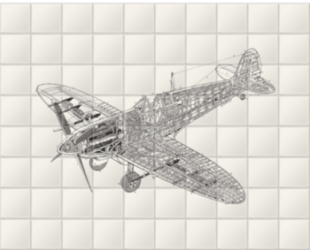 'White Spitfire' Ceramic Tile Mural