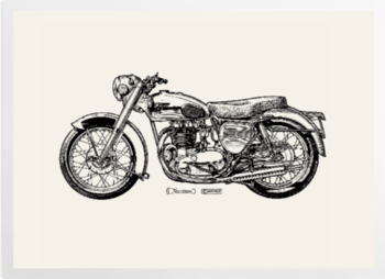 'White Motorcycle' Art Prints
