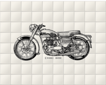 'White Motorcycle' Ceramic Tile Mural