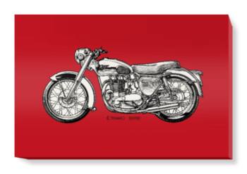'Deep Red Motorcycle' Canvas Wall Art