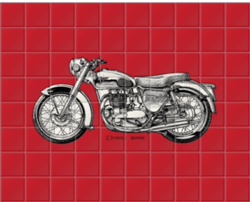 'Deep Red Motorcycle' Ceramic Tile Mural