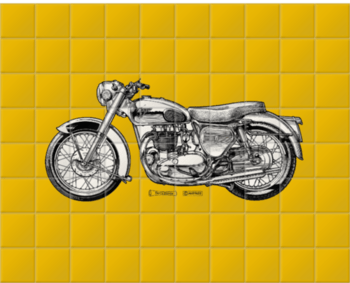 'Golden Yellow Motorcycle' Ceramic Tile Mural