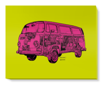 'Lime/Pink Camper Van' Canvas Wall Art