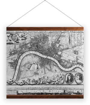 'Jacobus de la Feuille Map of Westminster' Wall Hanging