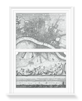 'Jacobus de la Feuille Map of Westminster' Decorative Window Film