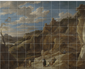 'A Gipsy Fortune Teller in a Hilly Landscape' Ceramic Tile Mural