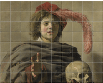 'Young Man holding a Skull' Ceramic Tile Mural