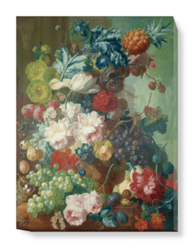 'Fruit and Flowers in a Terracotta Vase' Canvas Wall Art