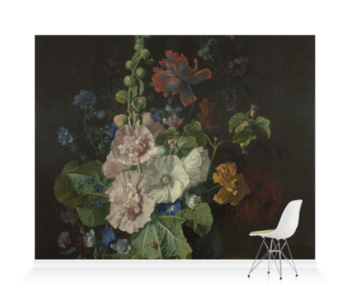 'Hollyhocks and Other Flowers in a Vase' Wallpaper Mural