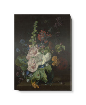 'Hollyhocks and Other Flowers in a Vase' Canvas Wall Art