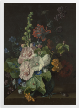 'Hollyhocks and Other Flowers in a Vase' Art Prints