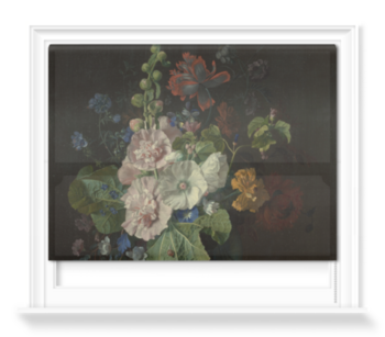 'Hollyhocks and Other Flowers in a Vase' Roller Blind