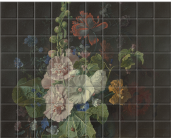 'Hollyhocks and Other Flowers in a Vase' Ceramic Tile Mural