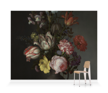 'Flowers in a Vase with Shells and Insects' Wallpaper Mural