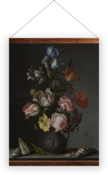 'Flowers in a Vase with Shells and Insects' Wall Hangings