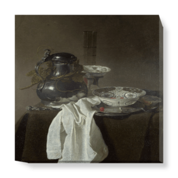 'Still Life with a Pewter Flagon and Two Ming Bowls' Canvas Wall Art