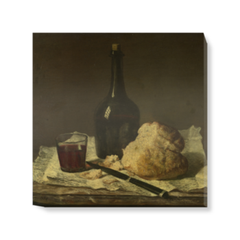 'Still Life with Bottle, Glass and Loaf' Canvas Wall Art