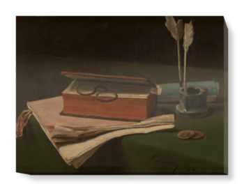 'Still Life with Book, Papers and Inkwell' Canvas Wall Art