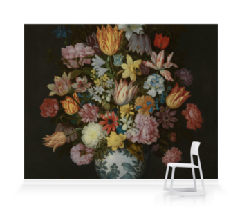 'A Still Life of Flowers in a Wan-Li Vase' Wallpaper Mural