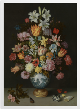 'A Still Life of Flowers in a Wan-Li Vase' Art Prints