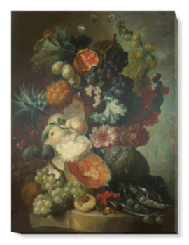'Fruit, Flowers and a Fish' Canvas Wall Art