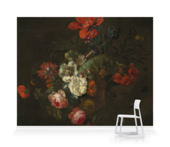 'Flowers in a Stone Vase' Wallpaper Mural