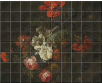 'Flowers in a Stone Vase' Ceramic Tile Mural