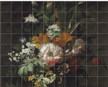 'Flowers in a Vase II' Ceramic Tile Mural