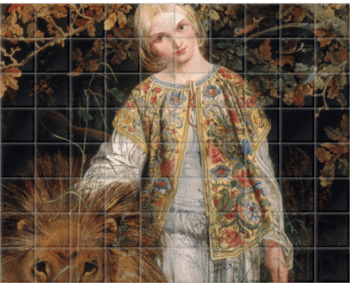 'Una and the Lion' Ceramic Tile Mural