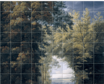 'An Alley of Trees in a Park' Ceramic Tile Mural