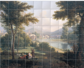 'A View of Florence from the North Bank of the Arno' Ceramic Tile Mural