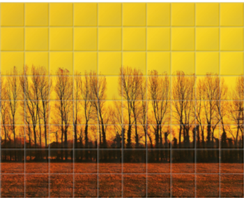 'Golden Landscape' Ceramic Tile Mural