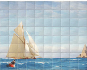 'A Large Sloop Yacht And A Barge†' Ceramic Tile Mural