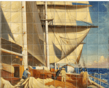 'Mending Sails On The Deck Of The 'Birkdale'†' Ceramic Tile Mural