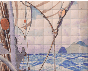 'Details Of Rigging On The Kylemore With Island†' Ceramic Tile Mural